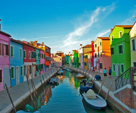House in Burano on the Venitian lagoon, Italy