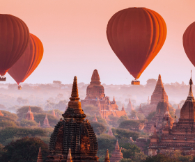 Red balloons in Myanmar