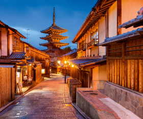 Empty Japanese temples early in the morning