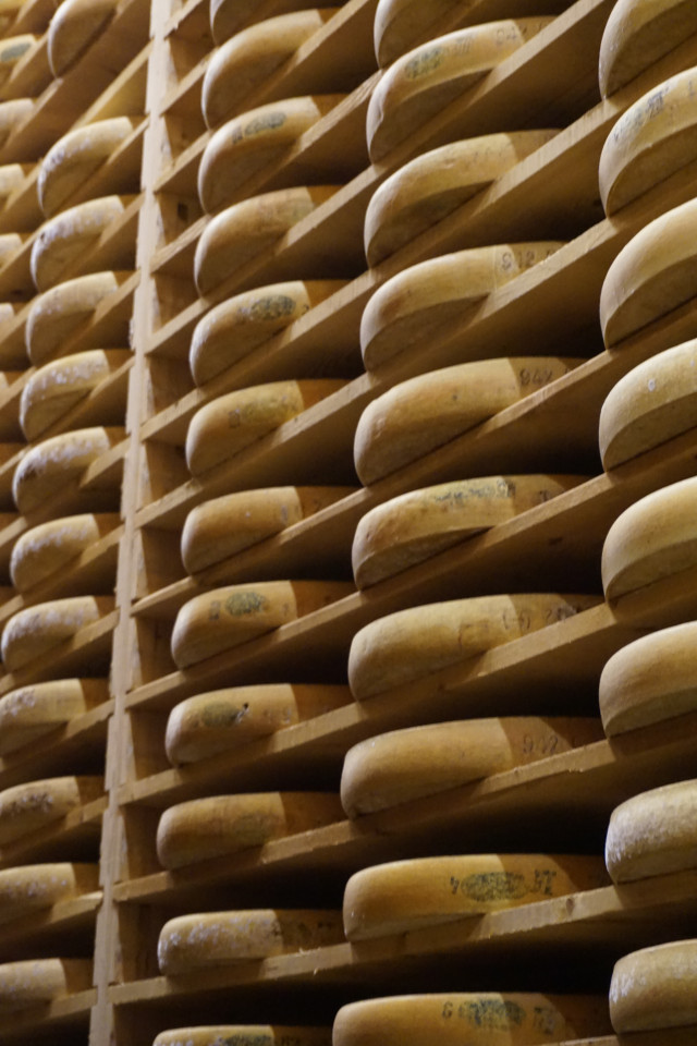 Wheels of Comte cheese in Jura, France