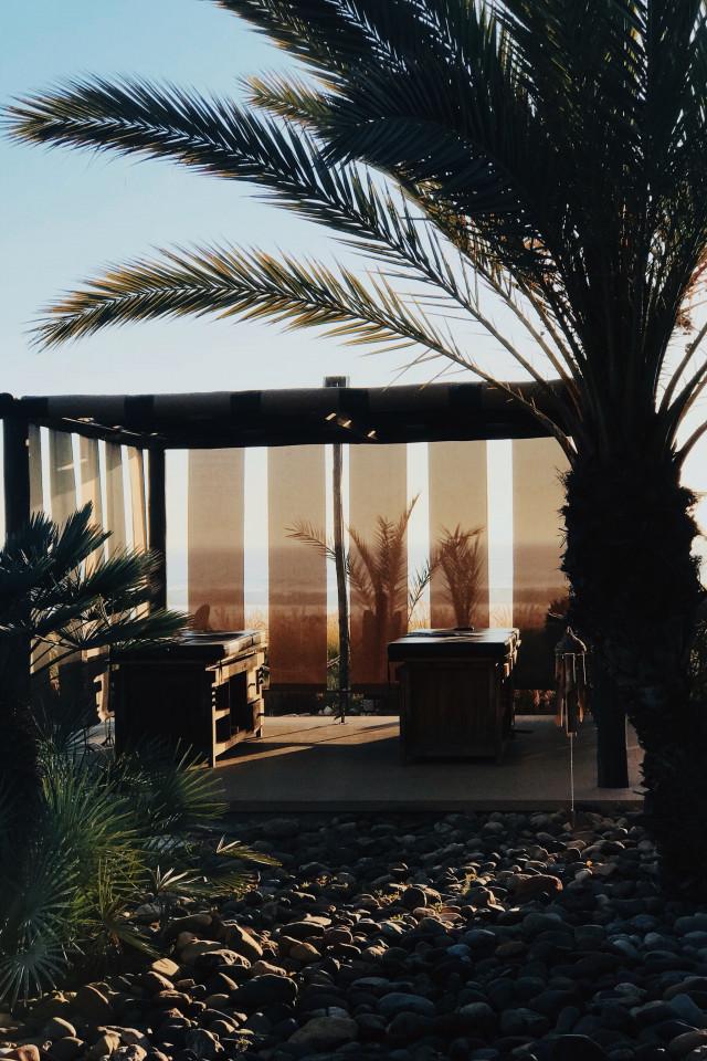 Open air massage area at Paradis Plage, Agadir