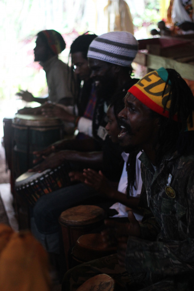 A nyahbinghi ritual in at a Rastafari commune in Newcastle, in Jamaica's Blue Mountains