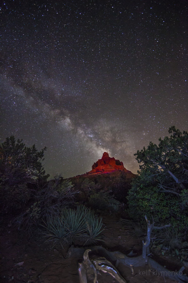 Bell rock under the Milky Way, Sedona