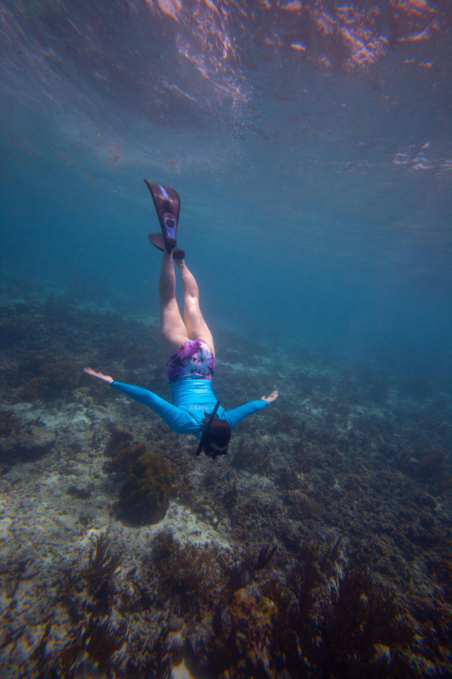 Writer Lydia Winter free diving