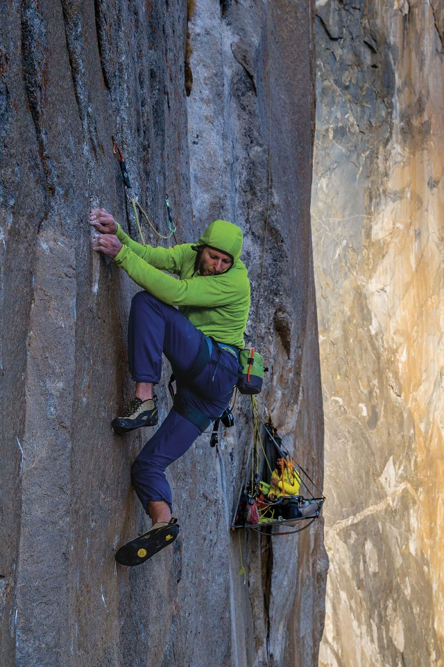 Tommy Caldwell climbing the Dawn Wall in Yosemite National Park