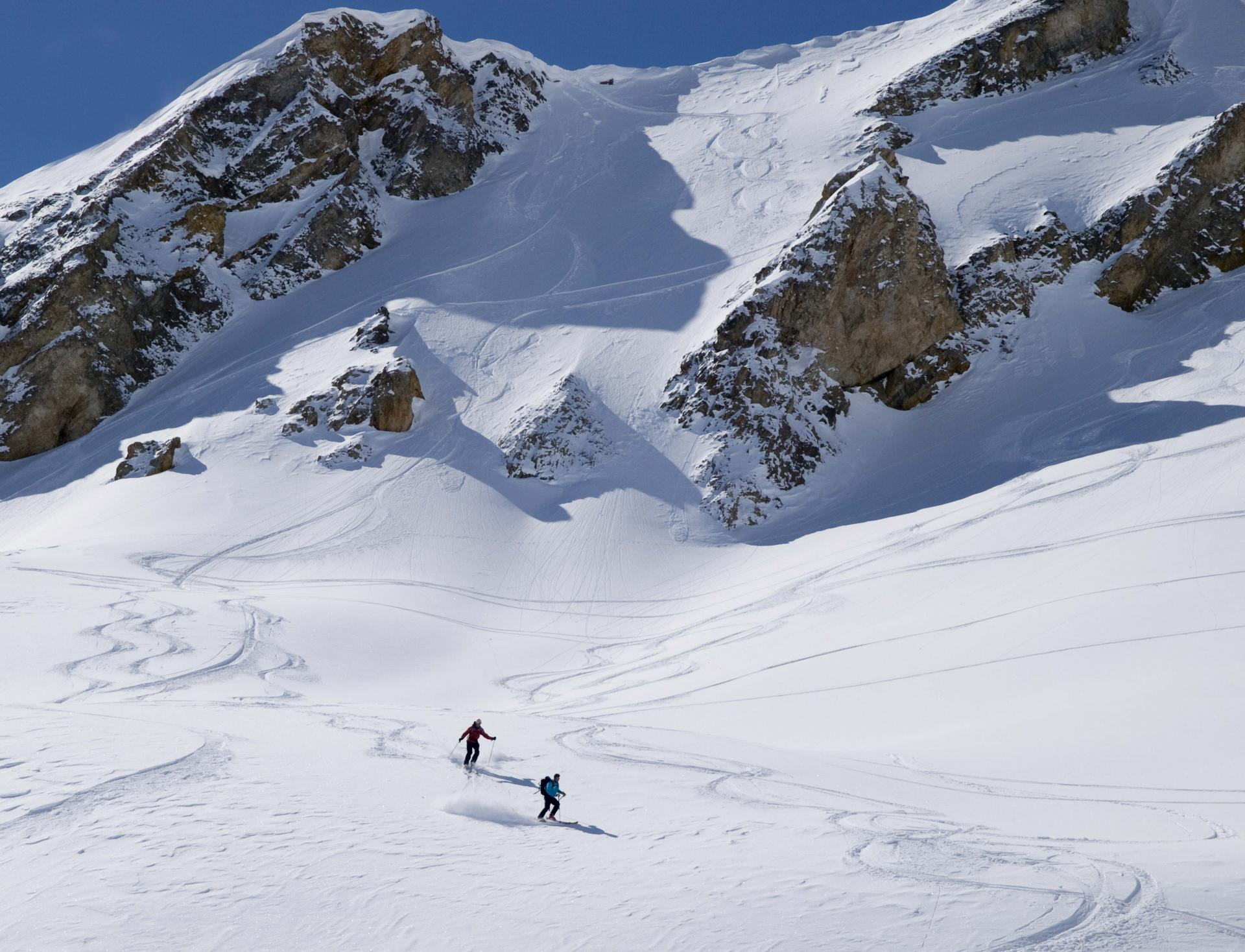 Making fresh tracks on skis in the Maurienne Valley, France