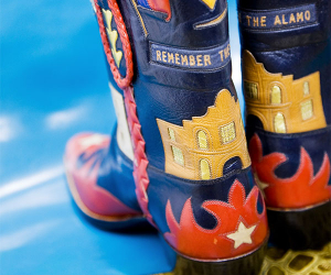 Remember the Alamo cowboy boots, Houston and San Antonio Texas, USA