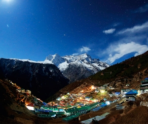 The mountain and village at night