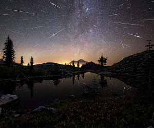 The Perseid Meteor Shower over Mount Shasta, USA