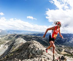 Reaching the summit at a US ultra run near Yosemite