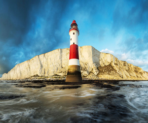 View of Beachy Head and Lighthouse from boat