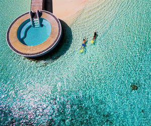 Aerial view of Huvafen Fushi resort, Maldives