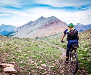 Mountain biking in the Rocky Mountains, Colorado, USA