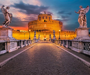 Italy, Rome, Sculptures of Guardian Angels on bridge