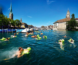 Swimmers in Zurich, Switzerland
