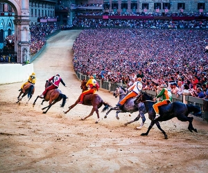 Riders at the Il Palio race in Siena, Italy