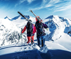 Backcountry skiing in southern Austria