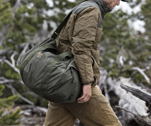 Filson ballistic nylon barrel pack and ultra-light jacket