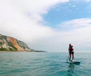 Paddleboarding off the Kent coast