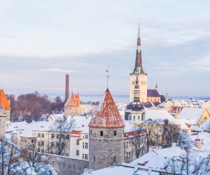 Winter scene in Tallinn Estonia